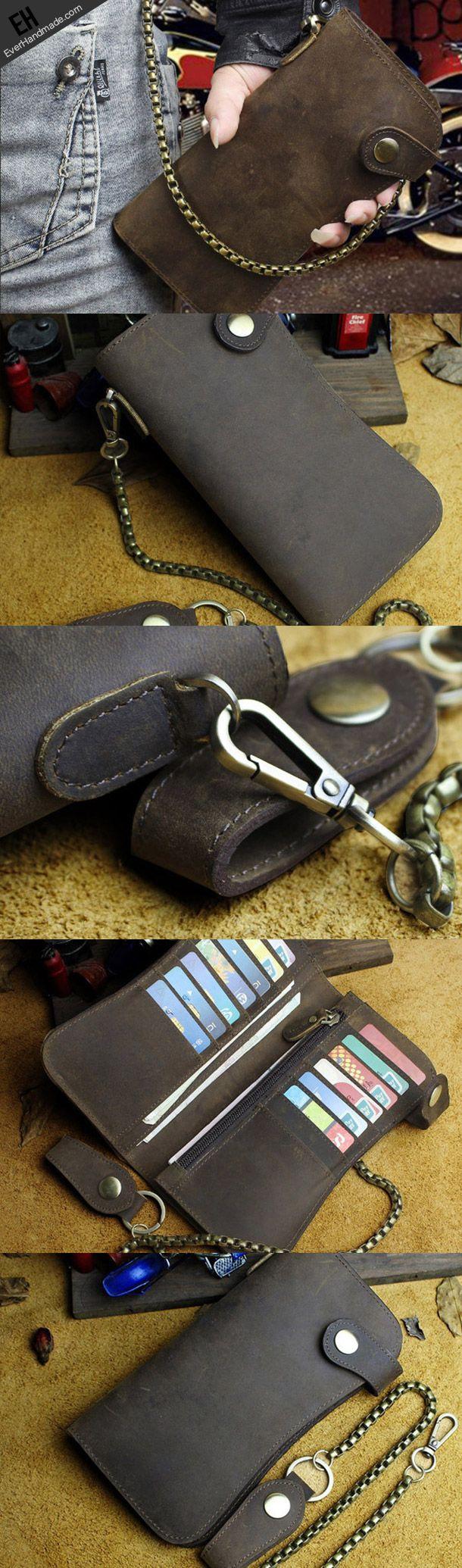 Handmade leather biker trucker wallet leather chain men Brown long