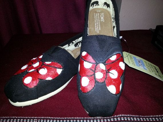 Minnie Mouse Bow Hand-Painted TOMS on Etsy, $78.50