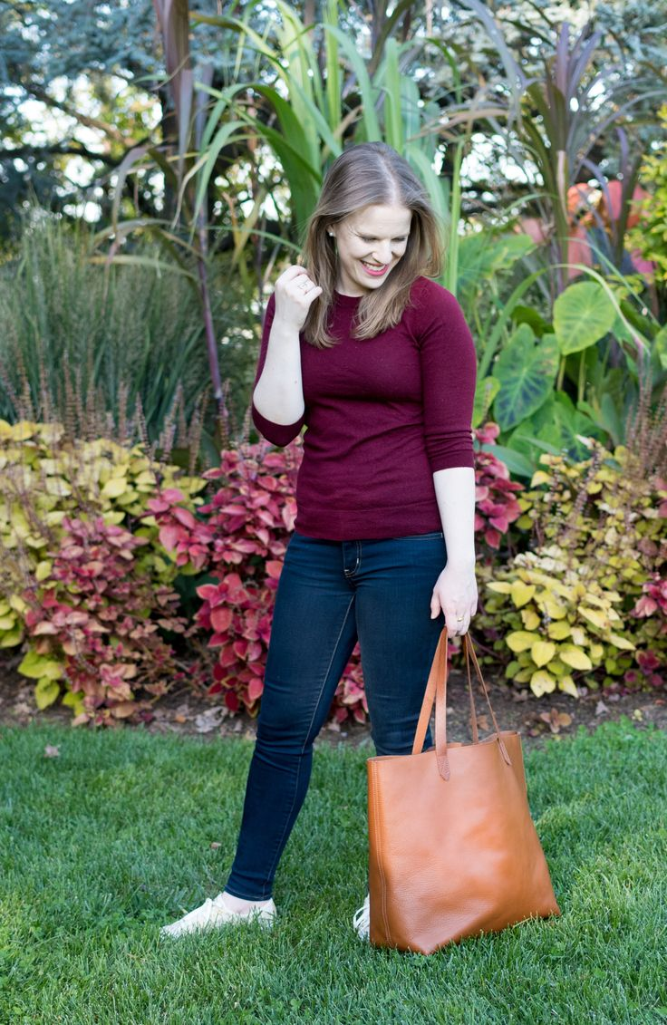 Three Tips for Buying Last Minute Gifts   Something Good, @danaerinw , fall style, women's fashion, cognac tote, j.crew crew neck sweater, women, fashion, clothing, style, women's clothing, aeo denim, jeans, skinny jeans, transport tote, madewell, tote bags, burgundy sweater, j.crew sweater