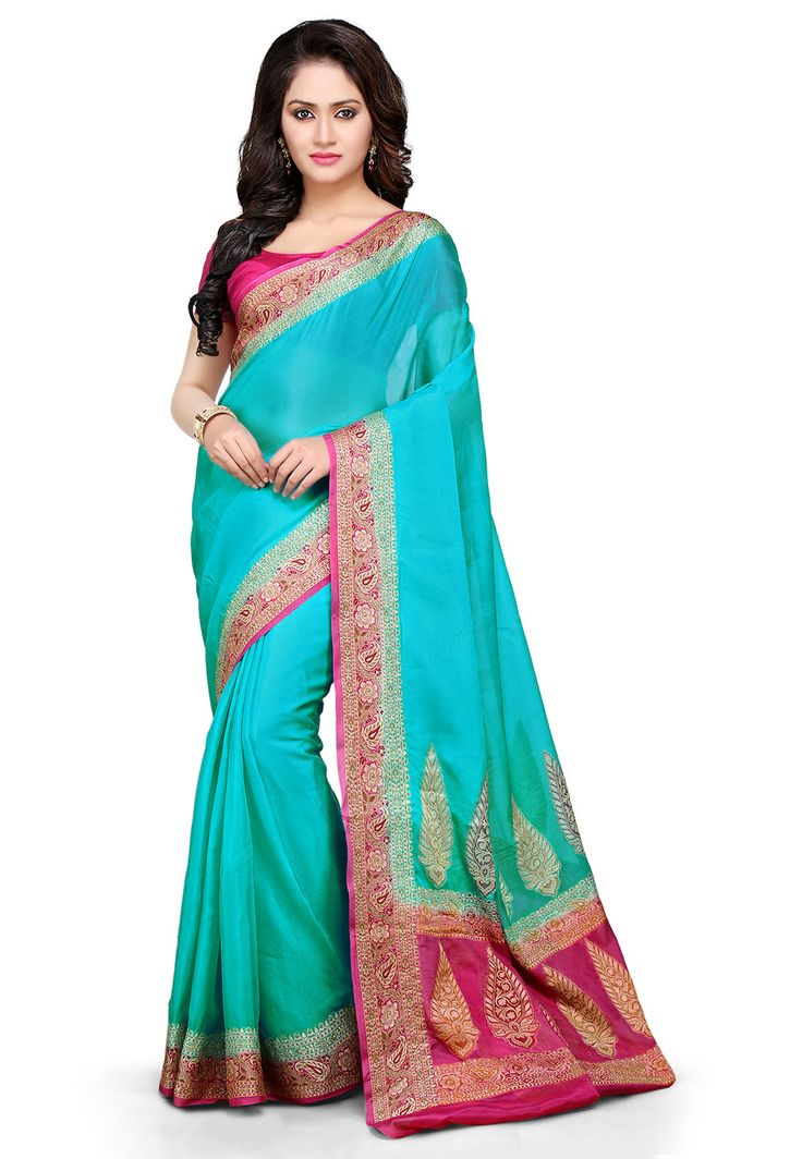 Woven Pure Georgette Saree In Turquoise : SHR361