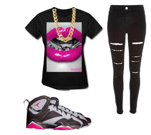 """Air Jordan retro 7 sport fushia"" by fabulousgirls101 on Polyvore featuring River Island and CC SKYE"