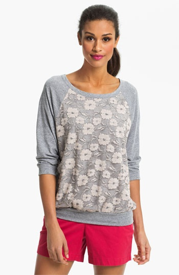 Bobeau Lace Front Sweatshirt available at Nordstrom