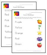 color matching worksheets