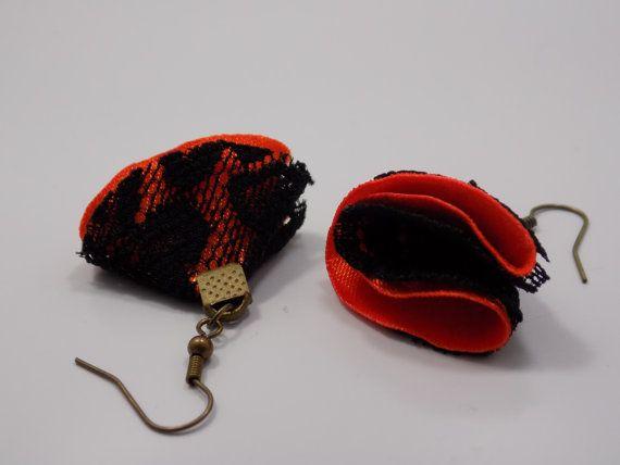 Satin earrings by GinaKittysJewels on Etsy