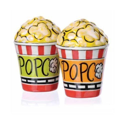 Popcorn salt and pepper shaker set kitchen Funky salt and pepper grinders