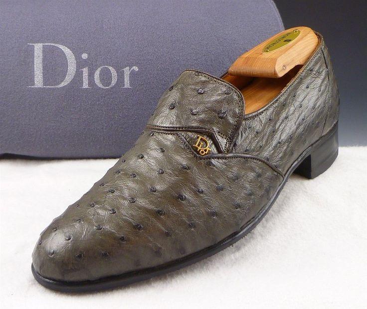 C Dior Sz 6 Vintage Ostrich Skin Loafers 13094 Mens Olive