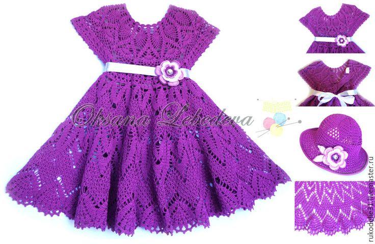 Купить Платье вязаное крючком из хлопка Осенние листья летнее для девочки - платье с пышной юбкой
