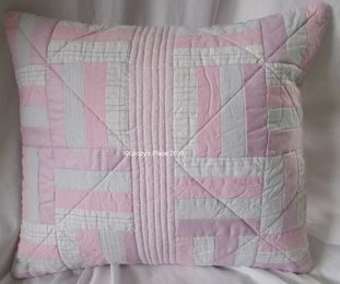 Cushion-made from upcycled strips from shirts, quilted.  Backed with shirt front.  Custom made pillow form  #recycled #upcycled #cushion