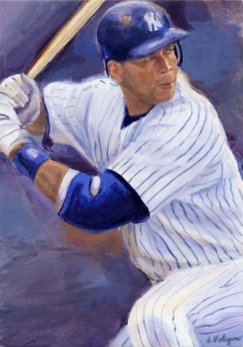 Alex Rodriquez New York yankees by AngiesGallery on Etsy, $225.00