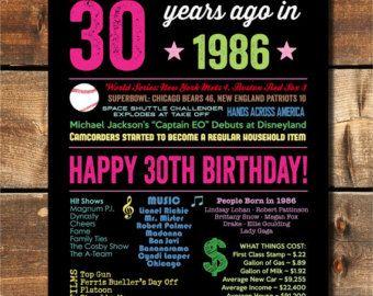 Signe de 1986 1986 30 an anniversaire 30e par fairplayprintables
