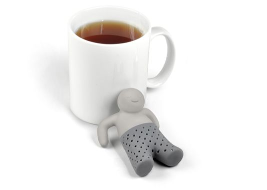 From Fred & Friends, Mister Tea infuser.  Toss some tea in his trousers, and let him lounge in your cup of hot water.  I'm not sure how I feel about this ... .