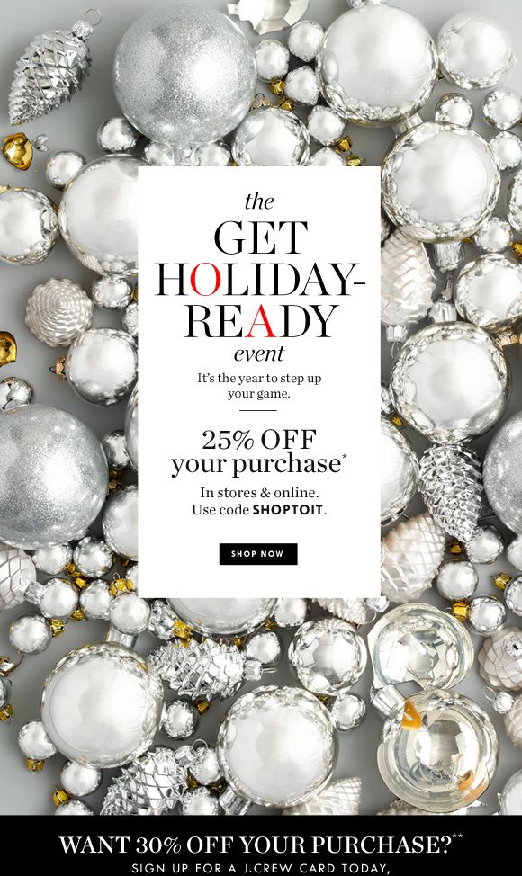 J.Crew: Get holiday-ready with 25% off your purchase | Milled