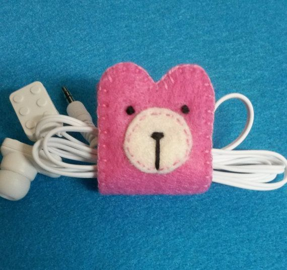 Hand Stitched Cord Organizer      This bear earphone holder is really cute and…