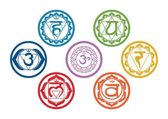 CHAKRAS Vinyl Stickers (set of 7 colored die-cut stickers) -Yoga Aum/Om Meditation Symbol Wall-Window Decals Sticker