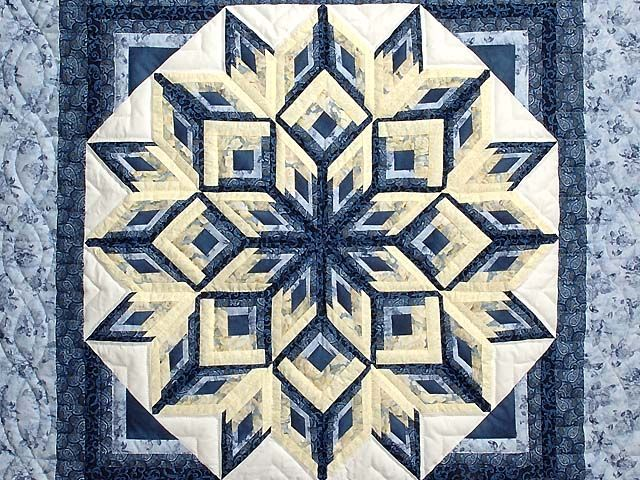 Blue and Yellow Diamond Log Cabin Throw Photo 2