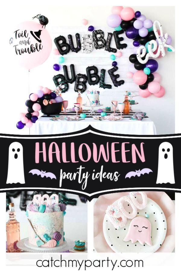 Halloween Halloween Bubble Bubble Toil And Trouble Halloween Girls Night Catch My Party Birthday Halloween Party Halloween Themed Birthday Party Halloween 1st Birthdays