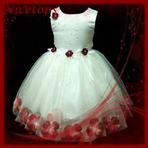 R476 RED White Princess Fairytale Party Flowers Girls Dress SIZE 9MT 1,2,3,4,5Y