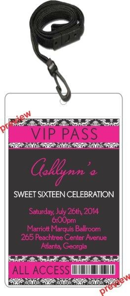 Pink Black Damask VIP Pass Invitation with Lanyard     When your guests receive one of our Pink Black Damask VIP Pass Invitatios, you'll make them feel like a celebrity! The design and colors make it a great choice for a sweet 16 party or a bachelorette party.This invitation features a 4x6 invitation inserted into a clear vinyl pouch! A black lanyard is included. The lanyards are break-away (quick-release) for safety.