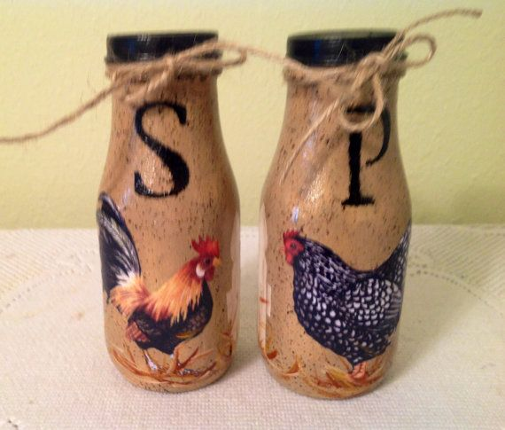 Rooster Hen Salt Pepper Shakers Kitchen Housewarming Gift Lover Country Home Upcycled Bottles Decor