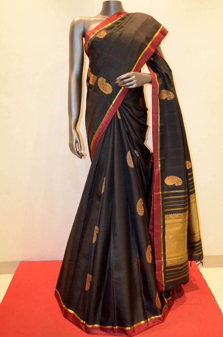 Designer Black Kanjeevaram Silk With Fine Zari Product Code: AA214810 To Shop Online Click here: http://www.janardhanasilk.com/Designer-Black-Kanjeevaram-Silk-With-Fine-Zari?search=AA214810