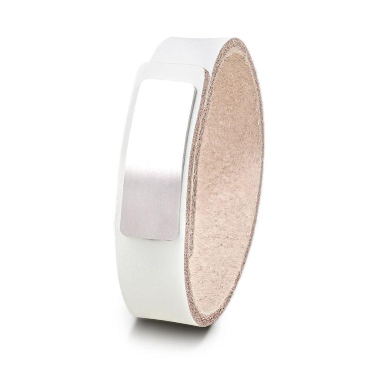 Wear Clint - Tuigleren armband (18mm / wit) met RVS-sluiting. Een stoer design voor mannen en vrouwen!
