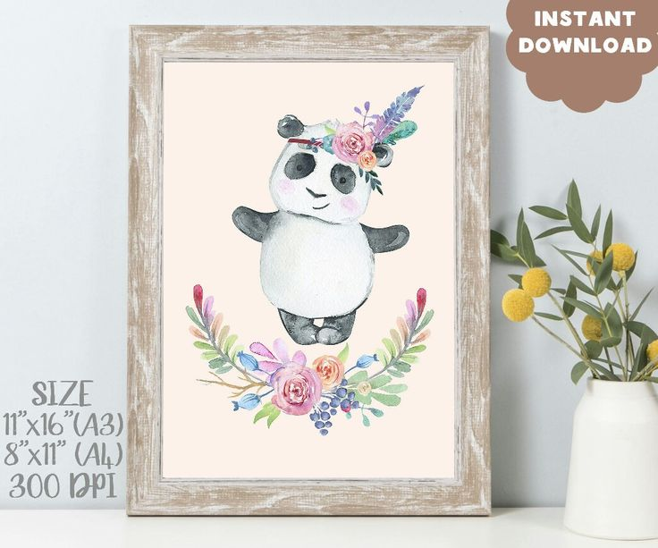 Nursery panda wall print. Floral boho nursery. Boho baby girl room. Kids panda print. Bohemian baby art. Indian nursery art. Cute panda art