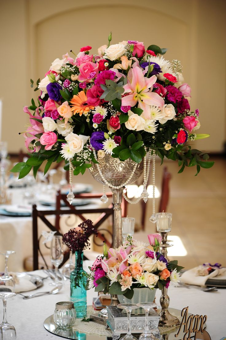 Dilightful Flowers and Ruby Moon Decor - Guest Table Arrangement - The Moon and Sixpence