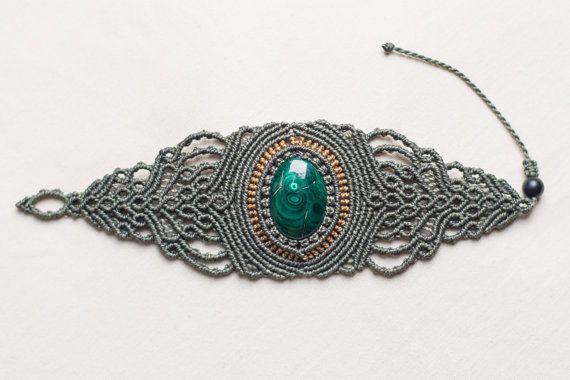Con malachite pietra semi-preziosa gioielli bracciale di Amonithe