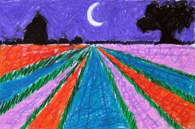 The children created a landscape image of Holland (home to famous artists like Van Gogh and Rembrandt) by drawing a horizon line and vanishing point. Long rows of tulips, hyacinth and daffodils were colored with oil pastels. Silhouettes of windmills and farmland were added to the horizon line in black.