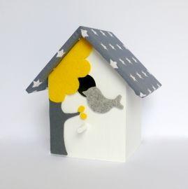 Vogel huisje Grijs & Geel