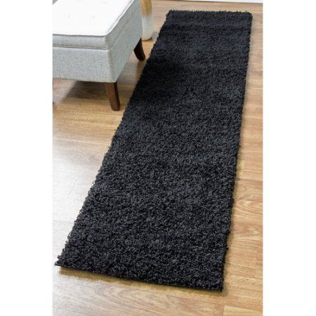 Super Area Rugs, Cozy Plush Solid Black Shag Rug , 2' 7 inch x 8' Runner