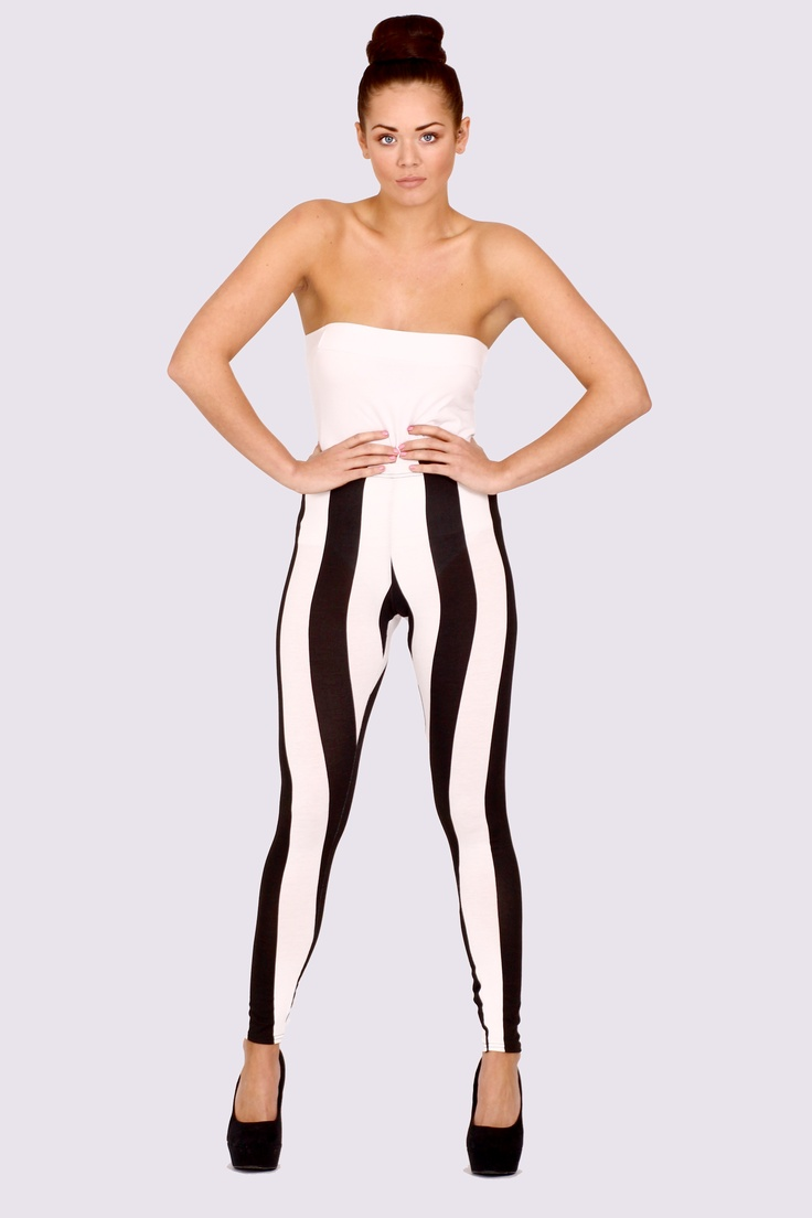 'Mona' Monochrome Stripe Leggings