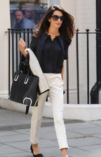 A LADYLIKE LIFE: George Clooney's fiancee Amal Alamuddin and her Alice + Olivia tote bag