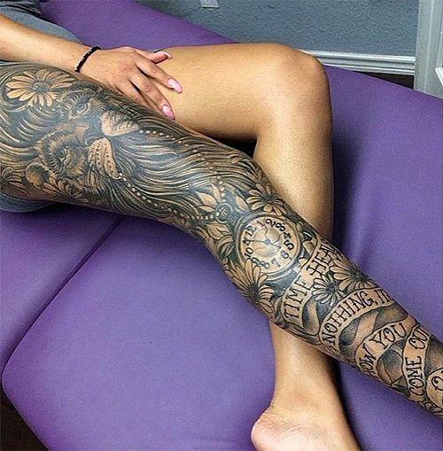 An epic leg sleeve featuring the king of the jungle. #InkedMagazine #legsleeve #lion #blackandgrey #tattoo #tattoos