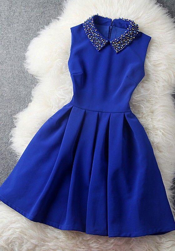 Navy Blue Plain Beading Pleated Turndown Collar Dress - Mini Dresses - Dresses