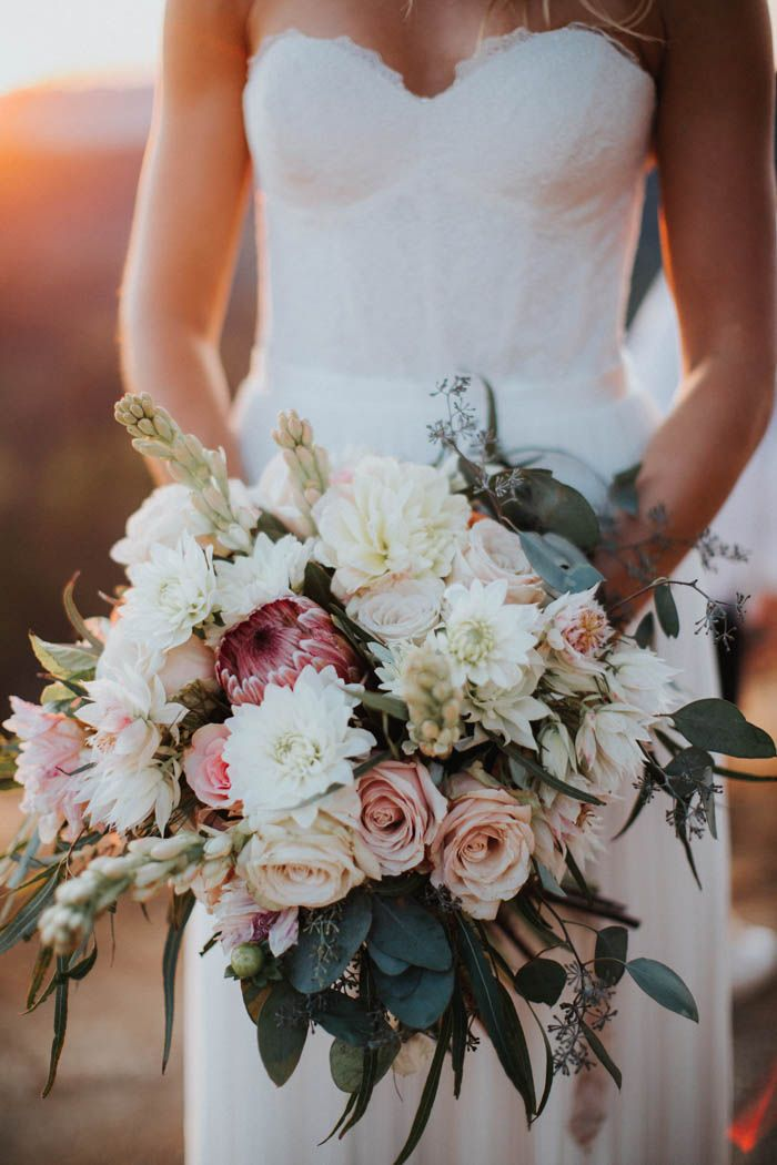 Blush + cream bridal bouquet | Image by Kindred Weddings