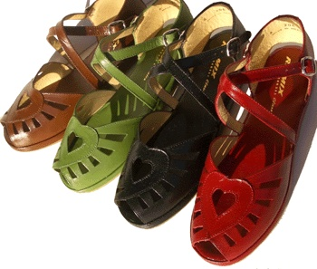 CORAZON SANDALS  A New 1940's flat sandal with padded footbed and cushion crepe sole.      All leather construction