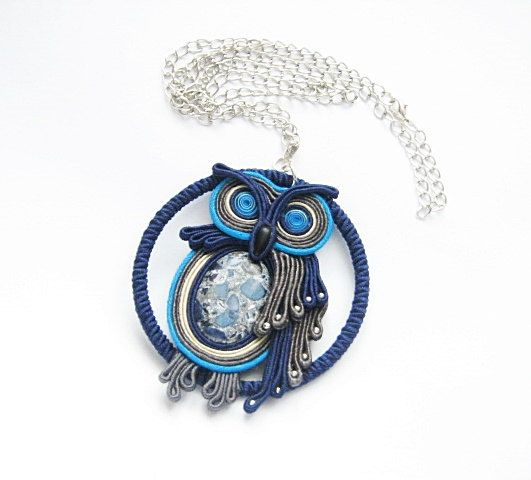 Soutache owl necklace with blue howlit. Bohemian boho hippie long beaded necklace