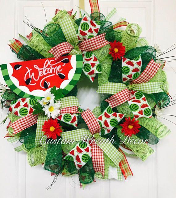 Watermelon Wreath Summer Wreath Happy Summer by CustomWreathDecor