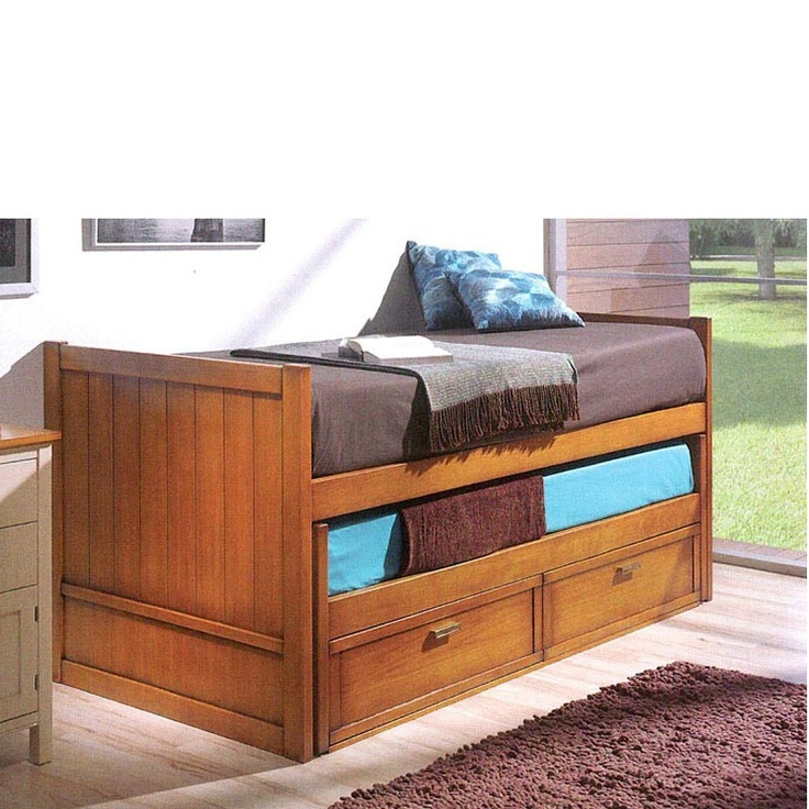 Compact trundle bed with 2 drawers made of solid beech wood available in 4 sizes ref r78 - Solid wood trundle bed with drawers ...