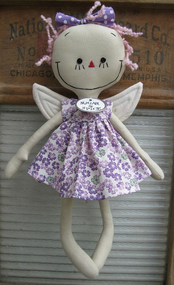 Fairy in Purple handmade cloth rag doll. $34.00, via Etsy.