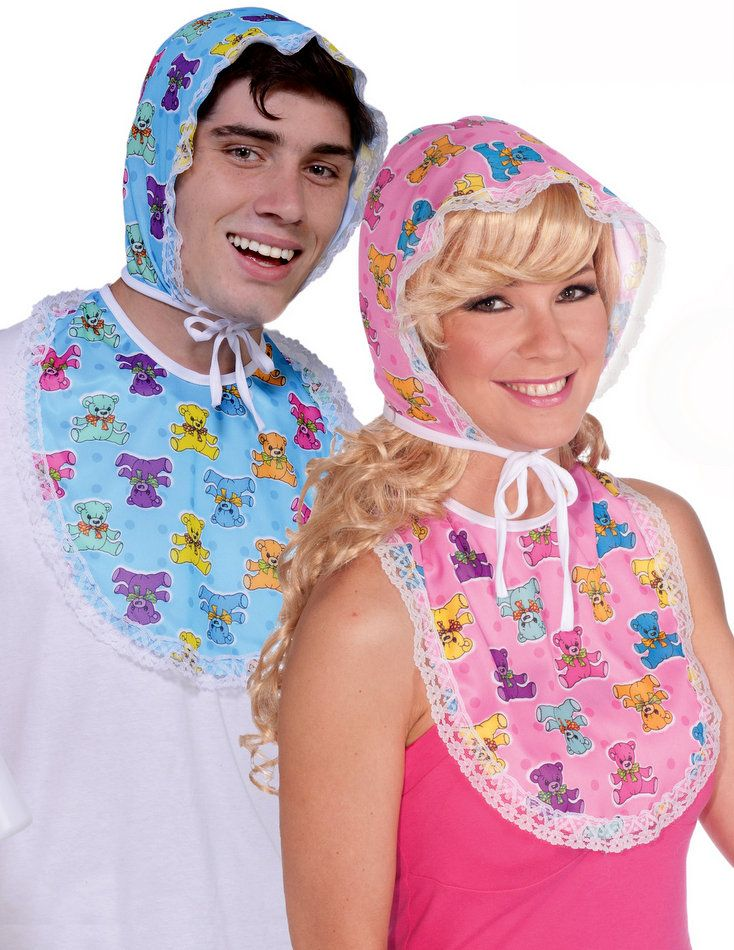 Adult Baby Bonnet and Bib - Pink or Blue