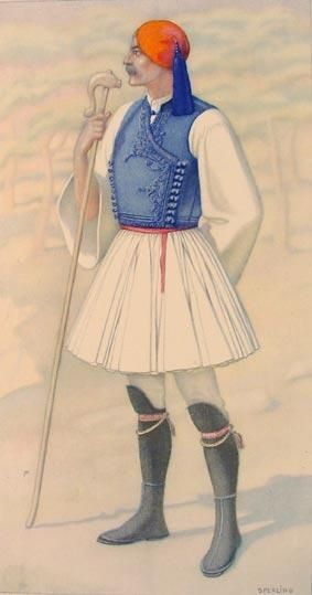 Greek Mans Costume (Attica) including Fustanella - Greek Costume Collection by NICOLAS SPERLING (Russia 1881-1940 / act: Athens).