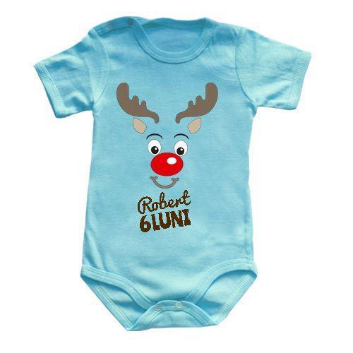 Body bebe cu imaginea unui ren. Prenumele bebelusului si varsta lui pot fi personalizate.