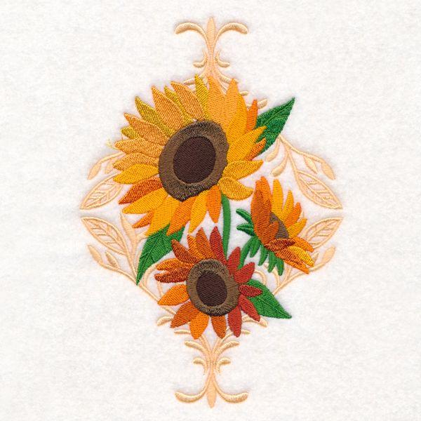 Lush Damask Sunflowers design (M15699) from www.Emblibrary.com