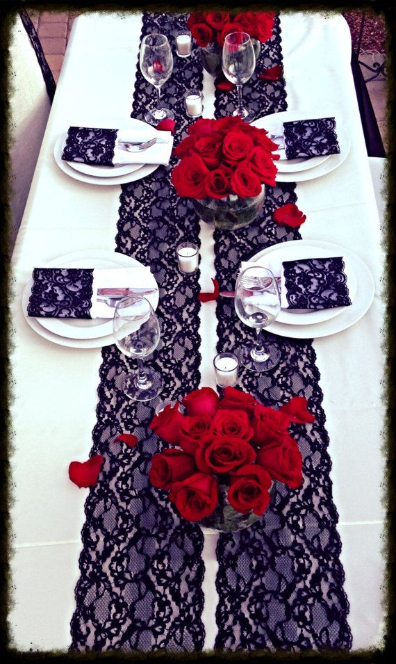 WEDDING Lace Table Runner 6ft Black 7In x by LovelyLaceDesigns, $9.95