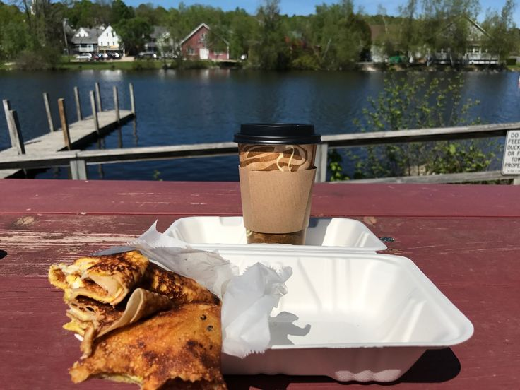 A gluten free ham, egg, and Gruyere crepe and a latte from Seven Suns Coffee in Wolfeboro, NH. What a treat!