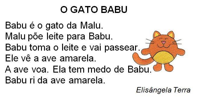 Texto O gato Babu, de Elisângela Terra