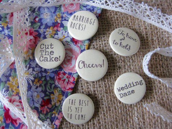 Handmade Wedding Badges Favours Quotes Rustic Boho Wedding by BohoBadges