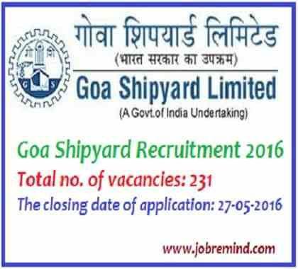 Goa Shipyard Recruitment 2016 GSL non executive posts 231 vacancies apply